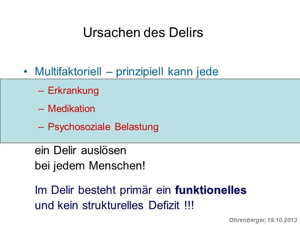 Ursachen des Delirs Multifaktoriell – prinzipiell kann jede