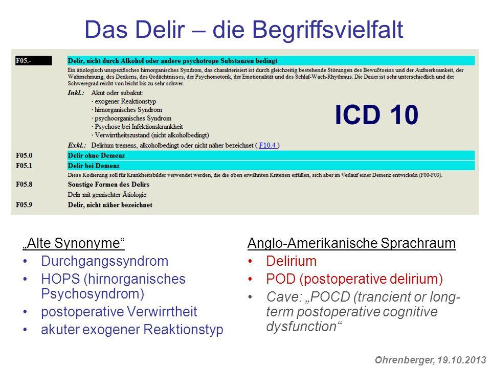 """ICD 10 Das Delir – die Begriffsvielfalt """"Alte Synonyme"""