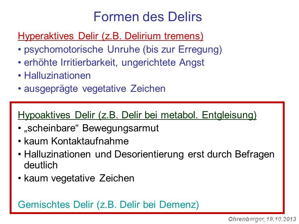 Formen des Delirs Hyperaktives Delir (z.B. Delirium tremens)