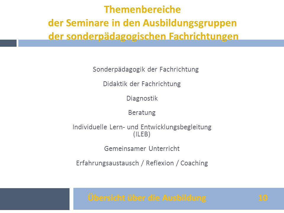 Themenbereiche der Seminare in den Ausbildungsgruppen der sonderpädagogischen Fachrichtungen