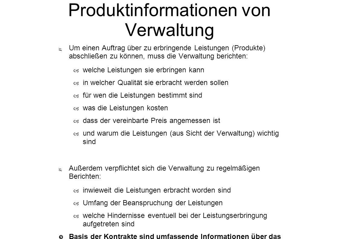 Produktinformationen von Verwaltung