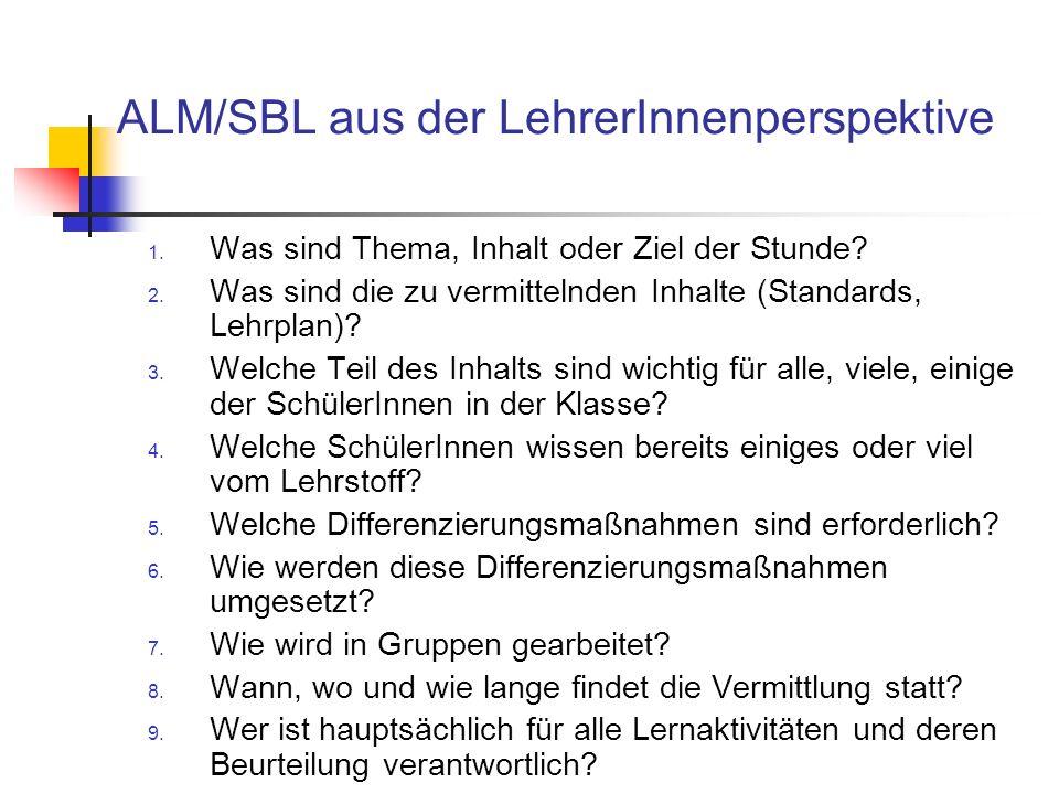 ALM/SBL aus der LehrerInnenperspektive