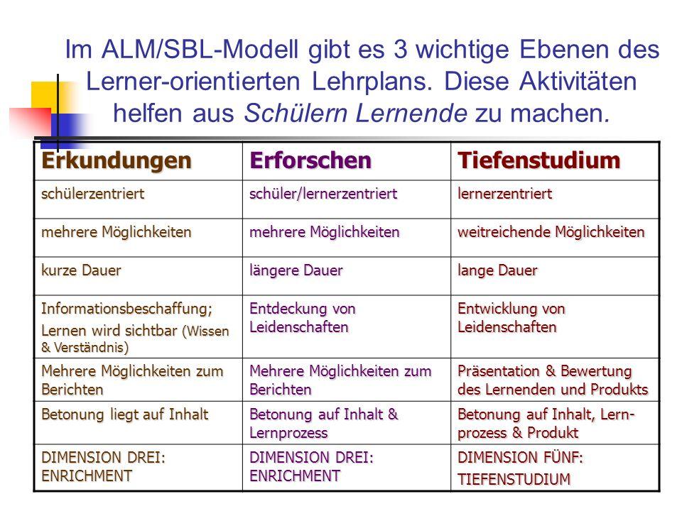 Im ALM/SBL-Modell gibt es 3 wichtige Ebenen des Lerner-orientierten Lehrplans. Diese Aktivitäten helfen aus Schülern Lernende zu machen.