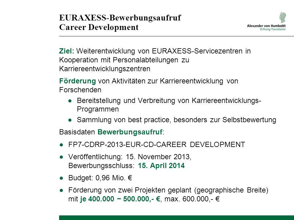 EURAXESS-Bewerbungsaufruf Career Development