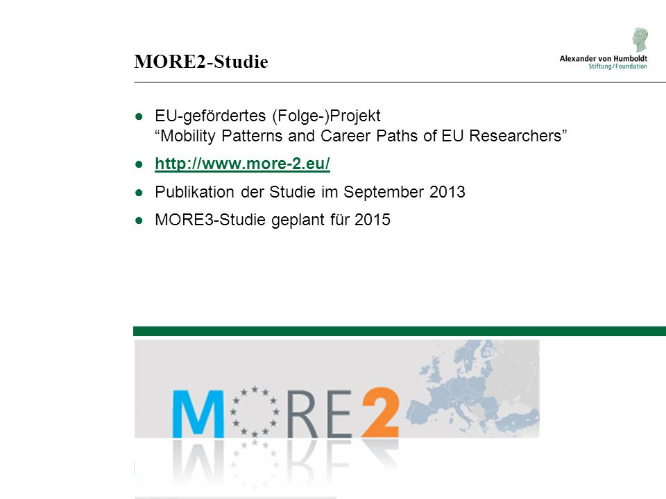 MORE2-Studie EU-gefördertes (Folge-)Projekt Mobility Patterns and Career Paths of EU Researchers