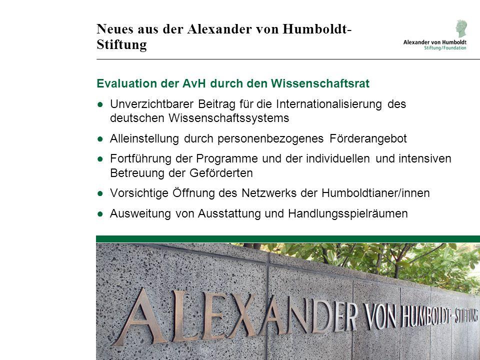 Neues aus der Alexander von Humboldt-Stiftung