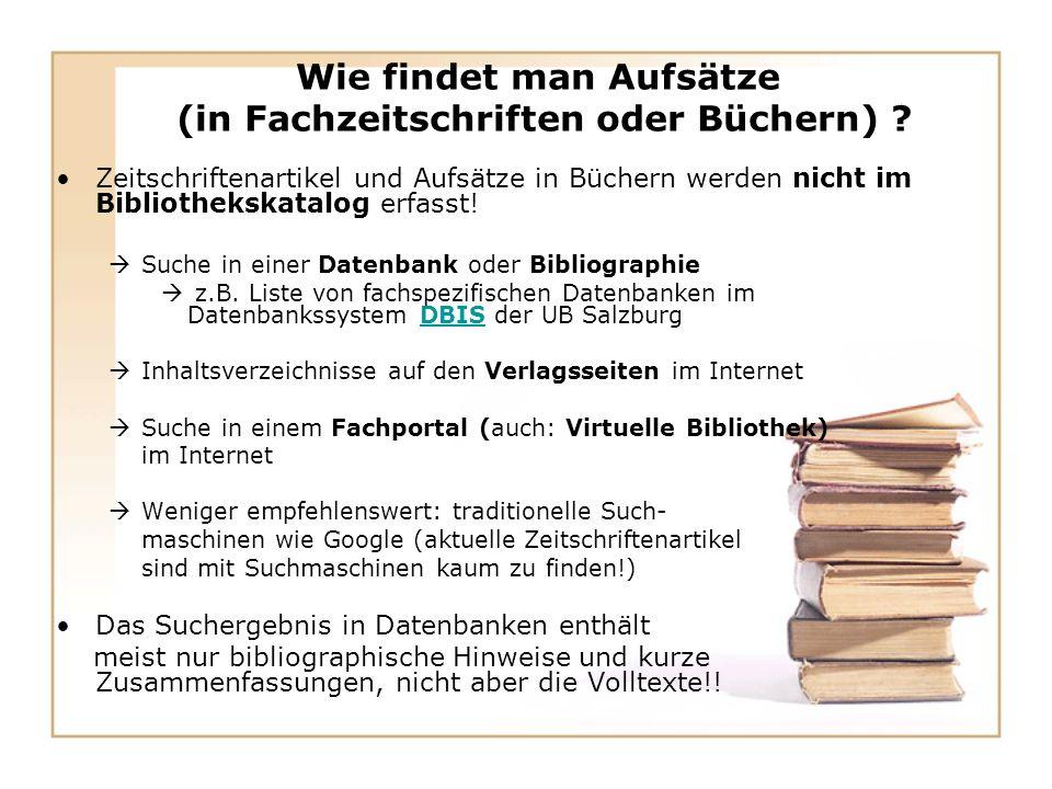 Wie findet man Aufsätze (in Fachzeitschriften oder Büchern)