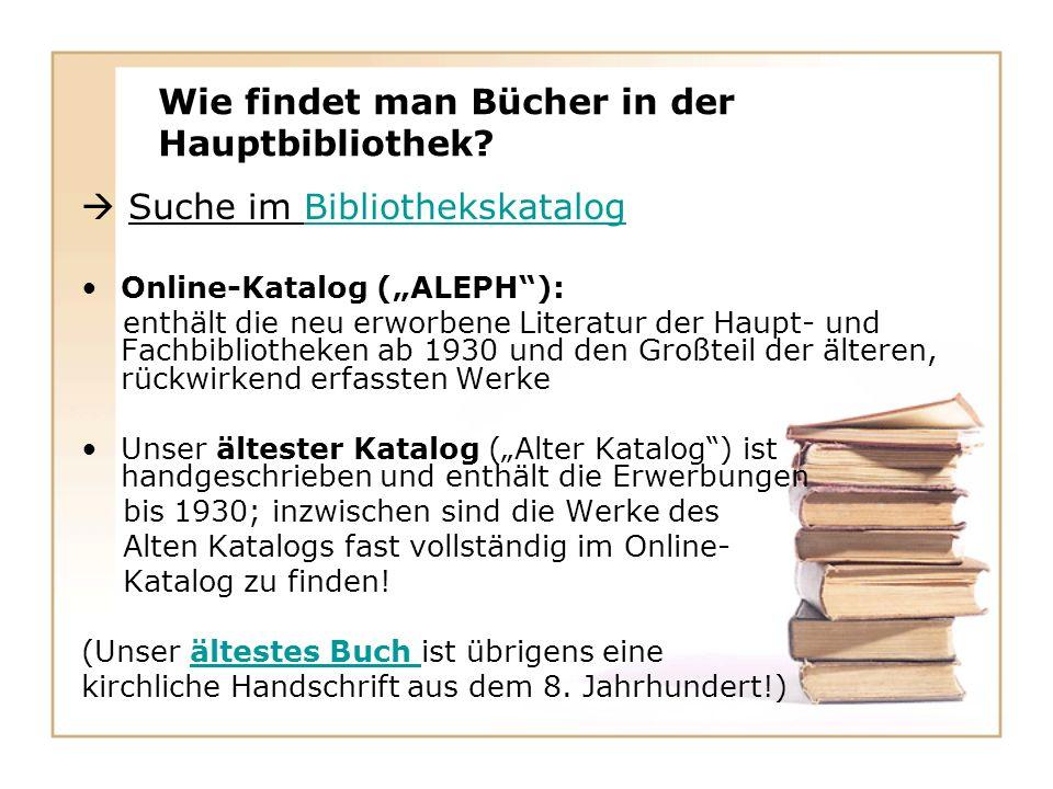 Wie findet man Bücher in der Hauptbibliothek