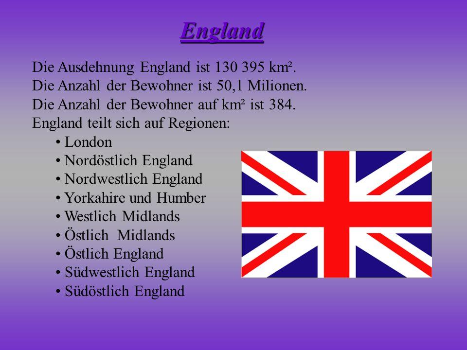 England Die Ausdehnung England ist 130 395 km².