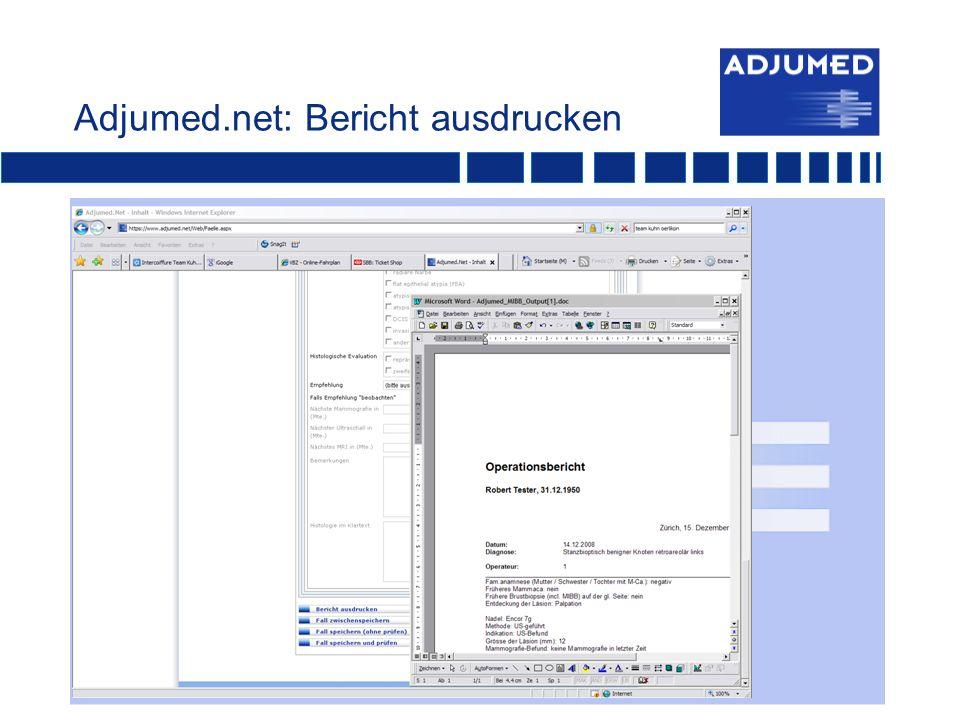 Adjumed.net: Bericht ausdrucken