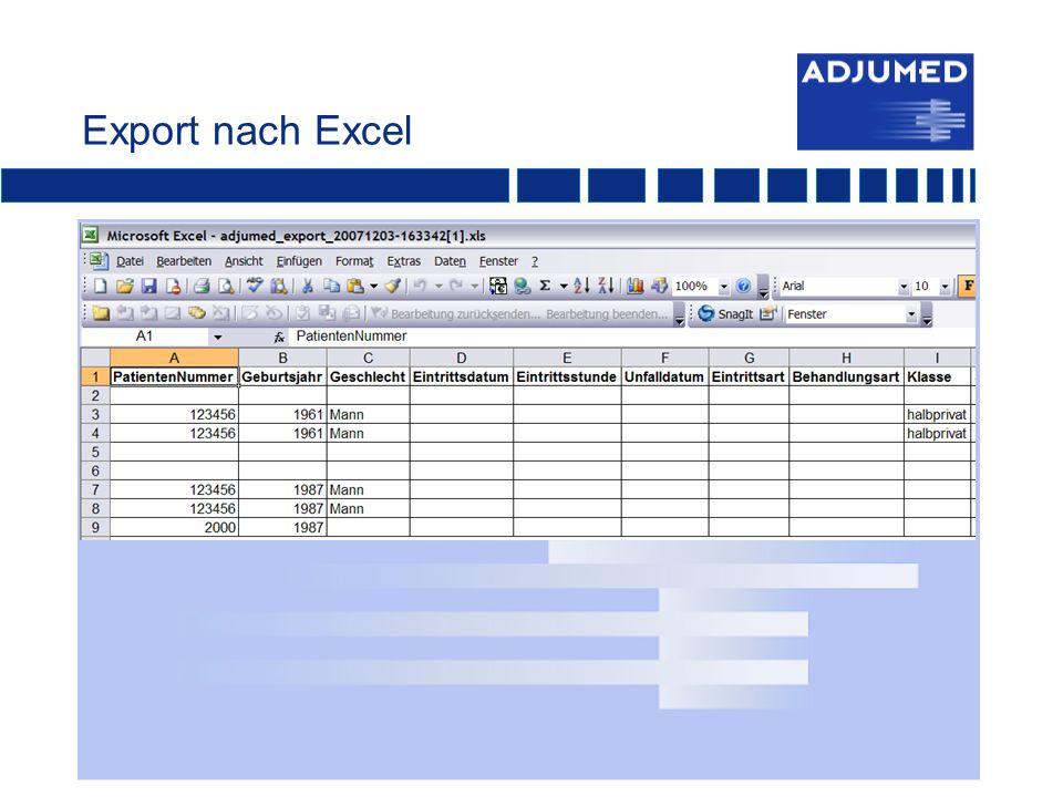 Export nach Excel