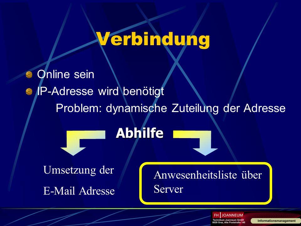 Verbindung Abhilfe Online sein IP-Adresse wird benötigt