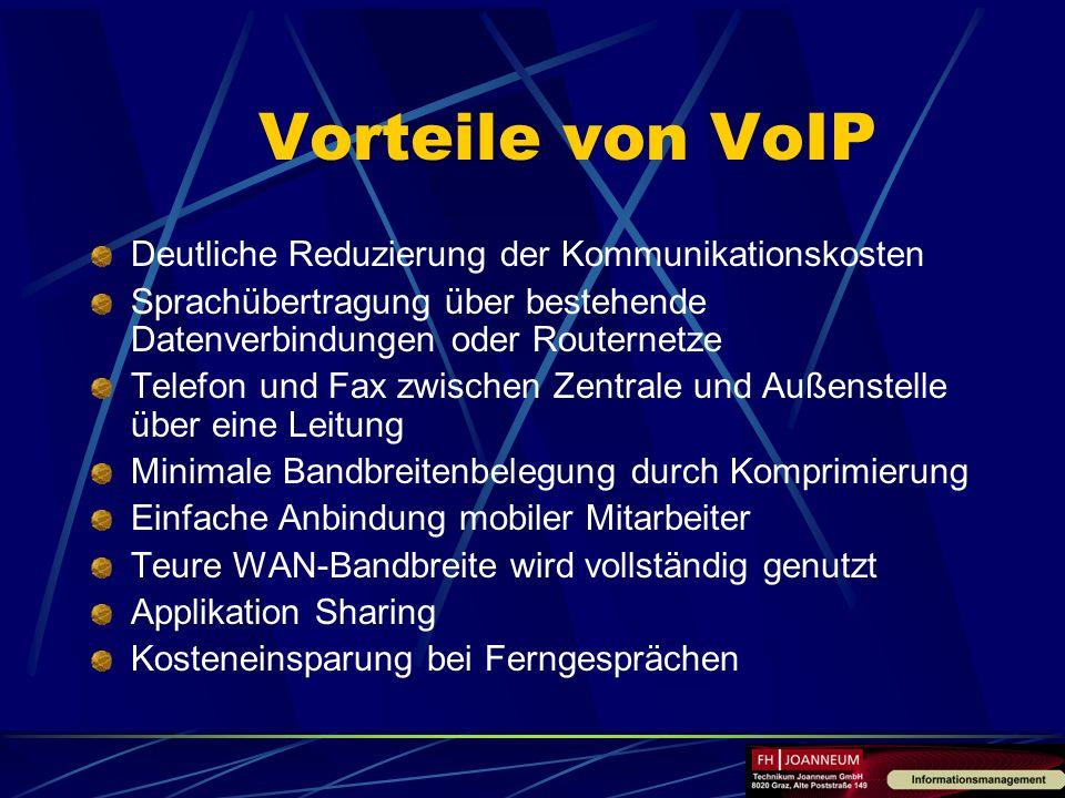 Vorteile von VoIP Deutliche Reduzierung der Kommunikationskosten