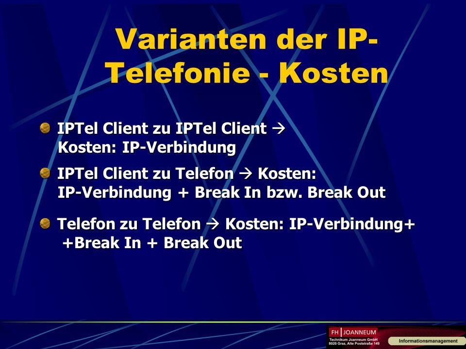 Varianten der IP-Telefonie - Kosten