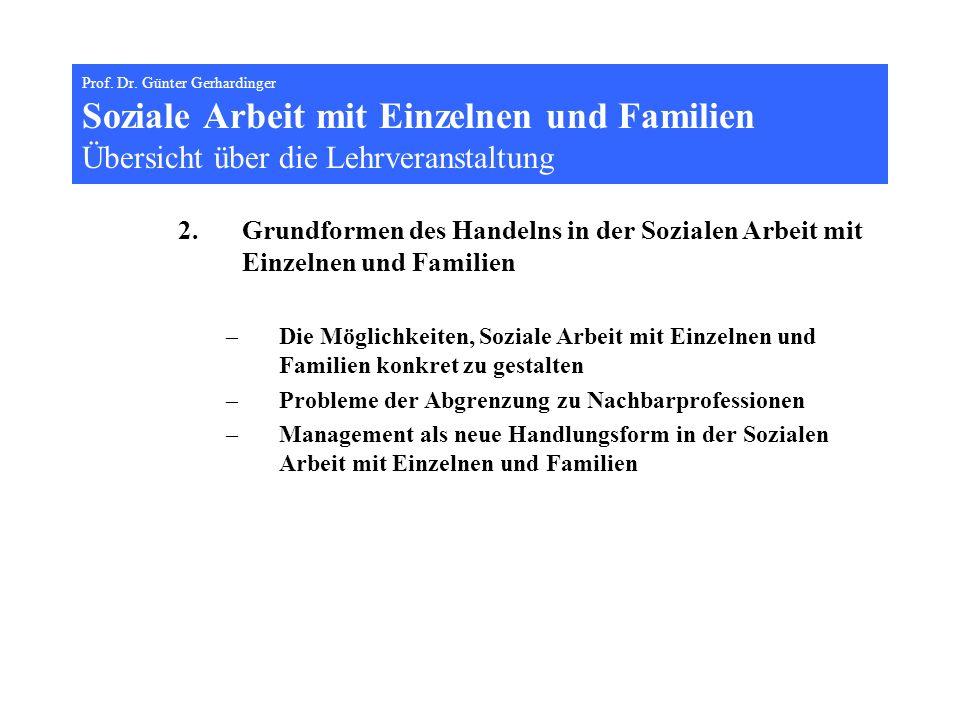Prof. Dr. Günter Gerhardinger Soziale Arbeit mit Einzelnen und Familien Übersicht über die Lehrveranstaltung
