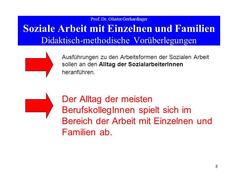 Prof. Dr. Günter Gerhardinger Soziale Arbeit mit Einzelnen und Familien Didaktisch-methodische Vorüberlegungen