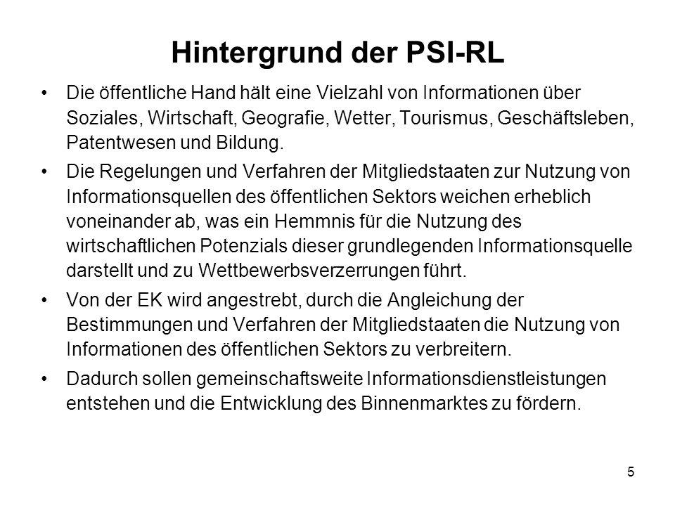 Hintergrund der PSI-RL
