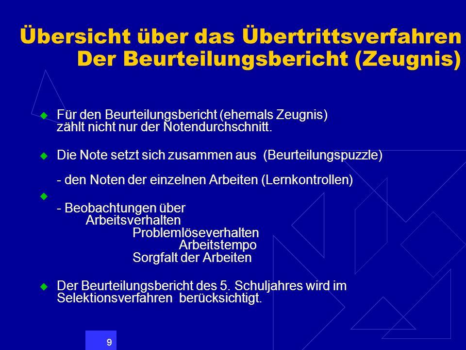 Übersicht über das Übertrittsverfahren Der Beurteilungsbericht (Zeugnis)