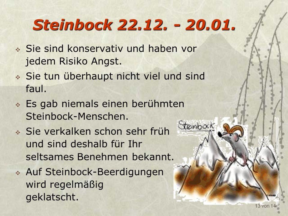 Steinbock 22.12. - 20.01. Sie sind konservativ und haben vor jedem Risiko Angst. Sie tun überhaupt nicht viel und sind faul.