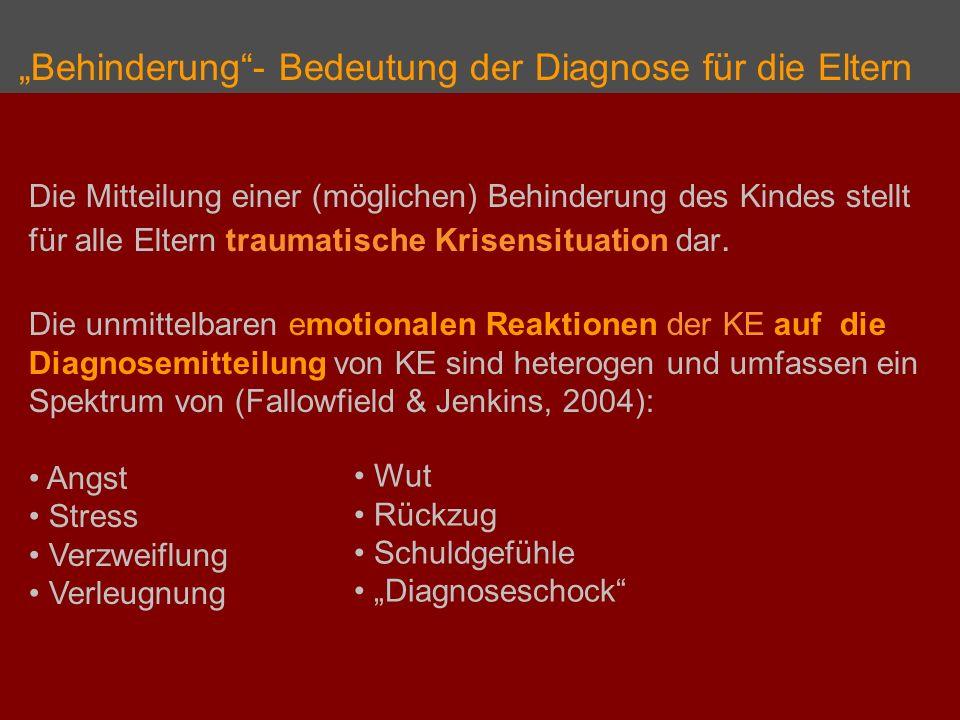"""""""Behinderung - Bedeutung der Diagnose für die Eltern"""