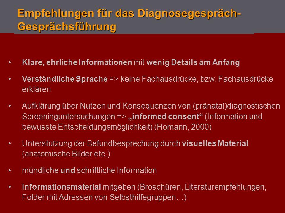 Empfehlungen für das Diagnosegespräch-Gesprächsführung