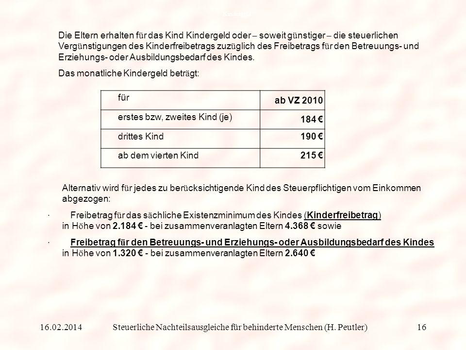 Steuerliche Nachteilsausgleiche für behinderte Menschen (H. Peutler)