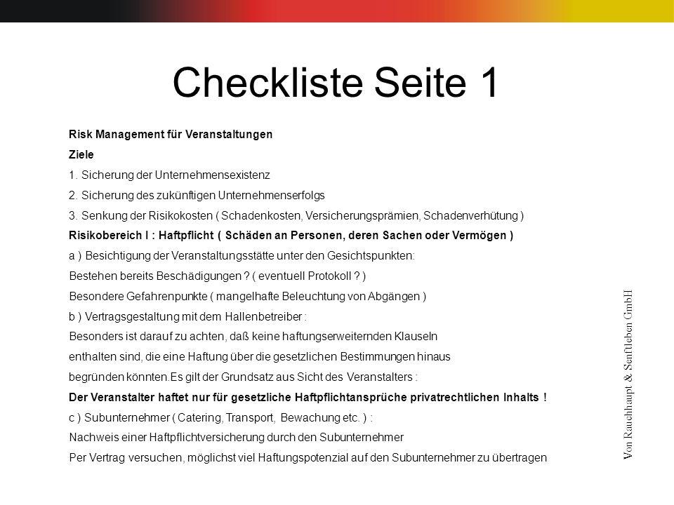Checkliste Seite 1 Risk Management für Veranstaltungen Ziele