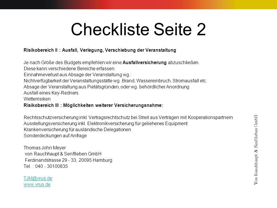 Checkliste Seite 2 Risikobereich II : Ausfall, Verlegung, Verschiebung der Veranstaltung.