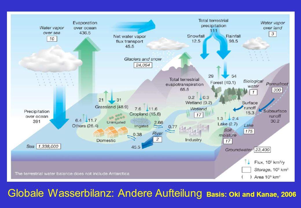 Globale Wasserbilanz: Andere Aufteilung Basis: Oki and Kanae, 2006
