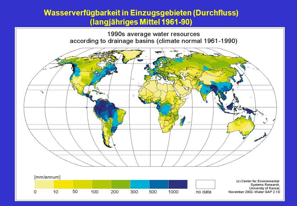 Wasserverfügbarkeit in Einzugsgebieten (Durchfluss) (langjähriges Mittel 1961-90)