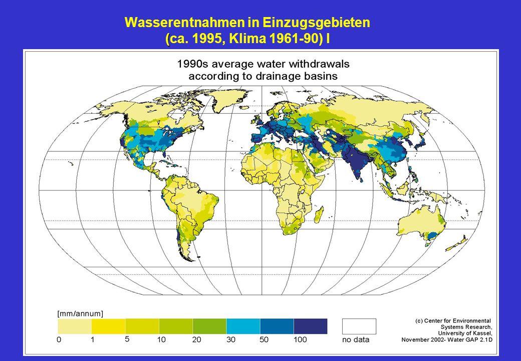 Wasserentnahmen in Einzugsgebieten (ca. 1995, Klima 1961-90) l