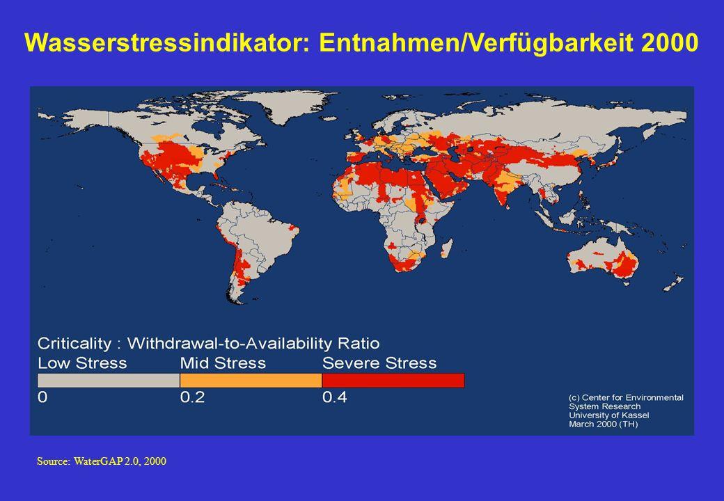 Wasserstressindikator: Entnahmen/Verfügbarkeit 2000