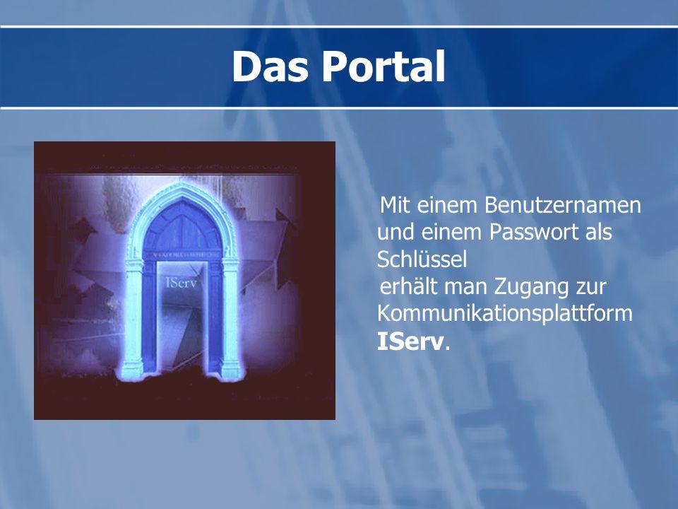 Das Portal Mit einem Benutzernamen und einem Passwort als Schlüssel
