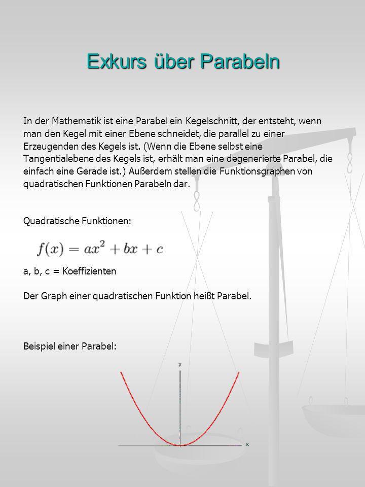 Exkurs über Parabeln In der Mathematik ist eine Parabel ein Kegelschnitt, der entsteht, wenn.