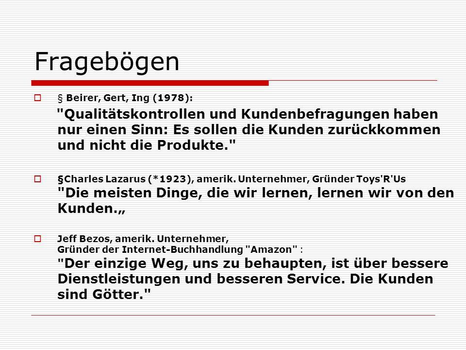 Fragebögen § Beirer, Gert, Ing (1978):