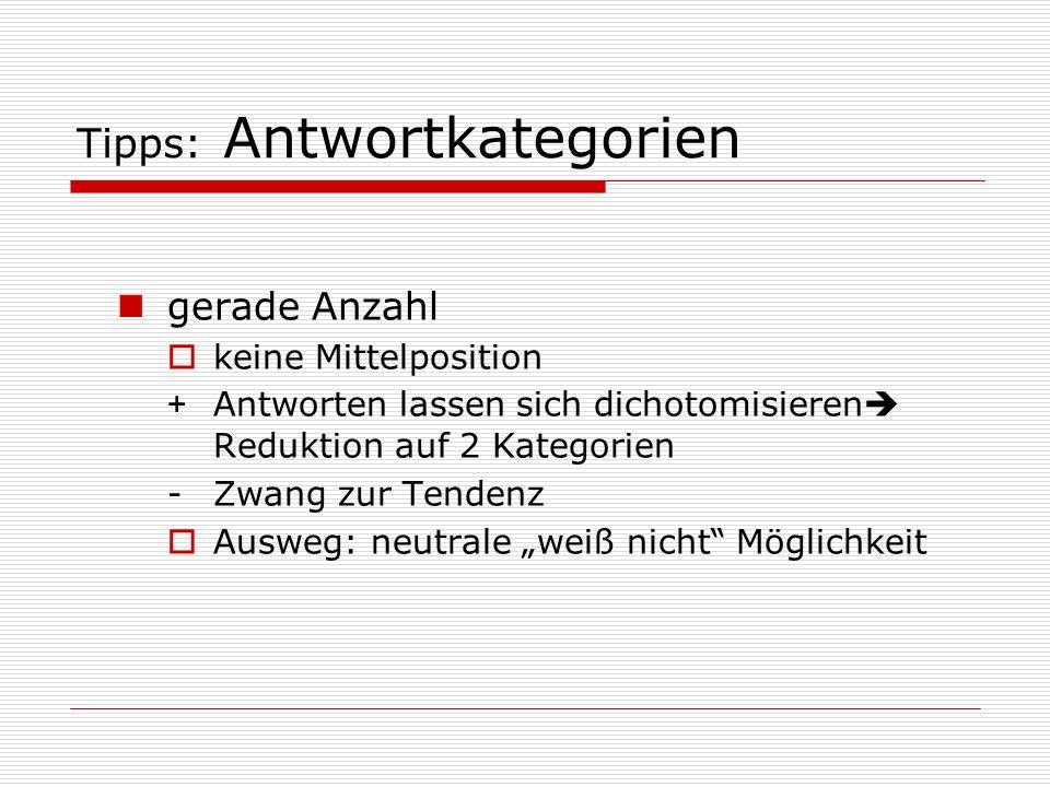 Tipps: Antwortkategorien