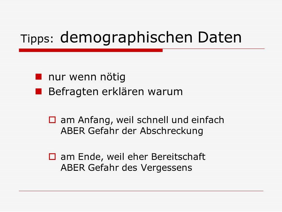 Tipps: demographischen Daten