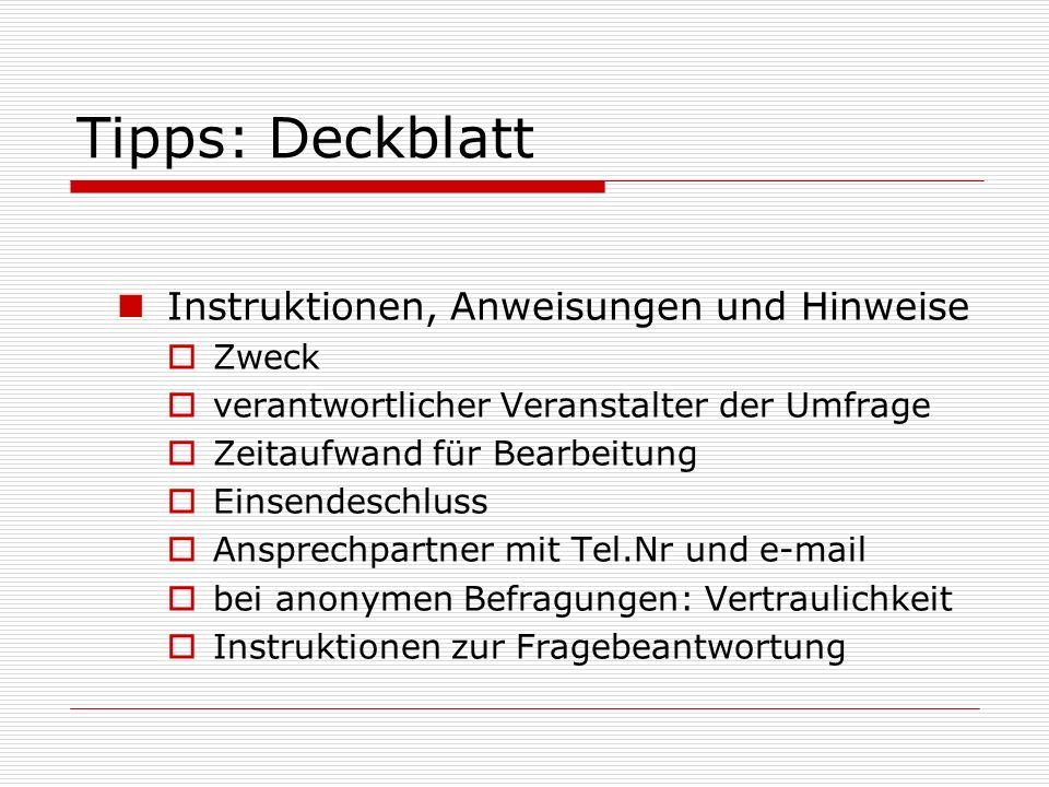 Tipps: Deckblatt Instruktionen, Anweisungen und Hinweise Zweck