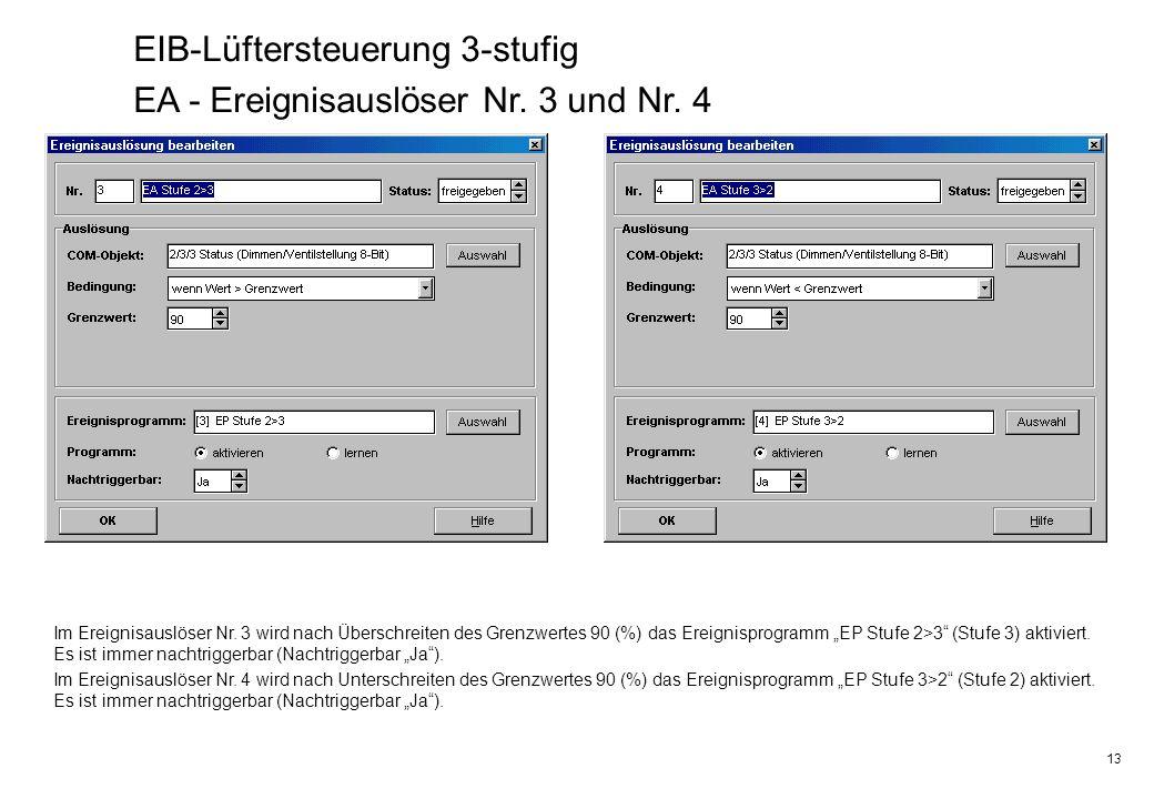 EIB-Lüftersteuerung 3-stufig EA - Ereignisauslöser Nr. 3 und Nr. 4