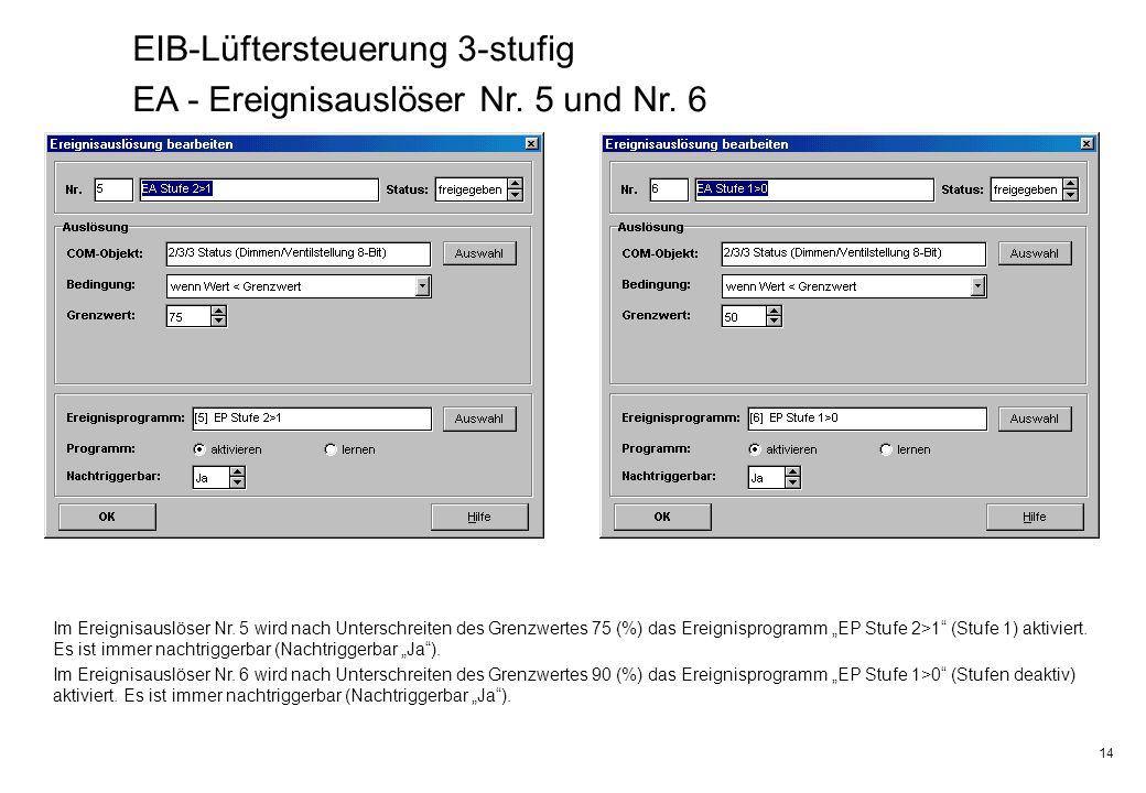 EIB-Lüftersteuerung 3-stufig EA - Ereignisauslöser Nr. 5 und Nr. 6