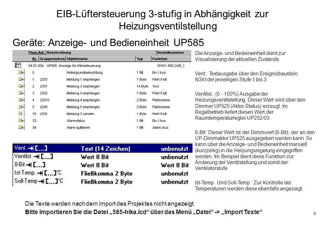 Geräte: Anzeige- und Bedieneinheit UP585