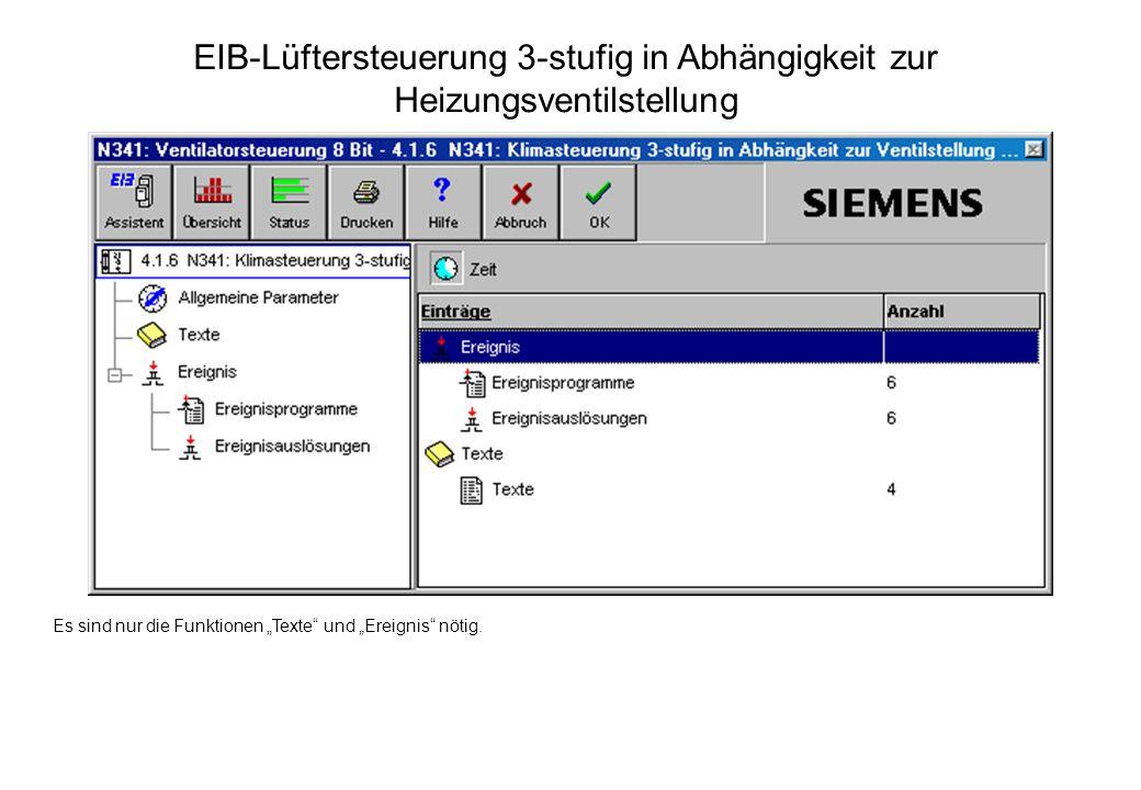 EIB-Lüftersteuerung 3-stufig in Abhängigkeit zur Heizungsventilstellung
