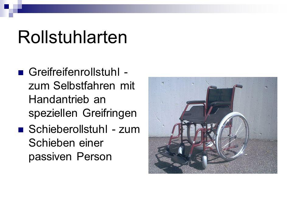 Rollstuhlarten Greifreifenrollstuhl - zum Selbstfahren mit Handantrieb an speziellen Greifringen.