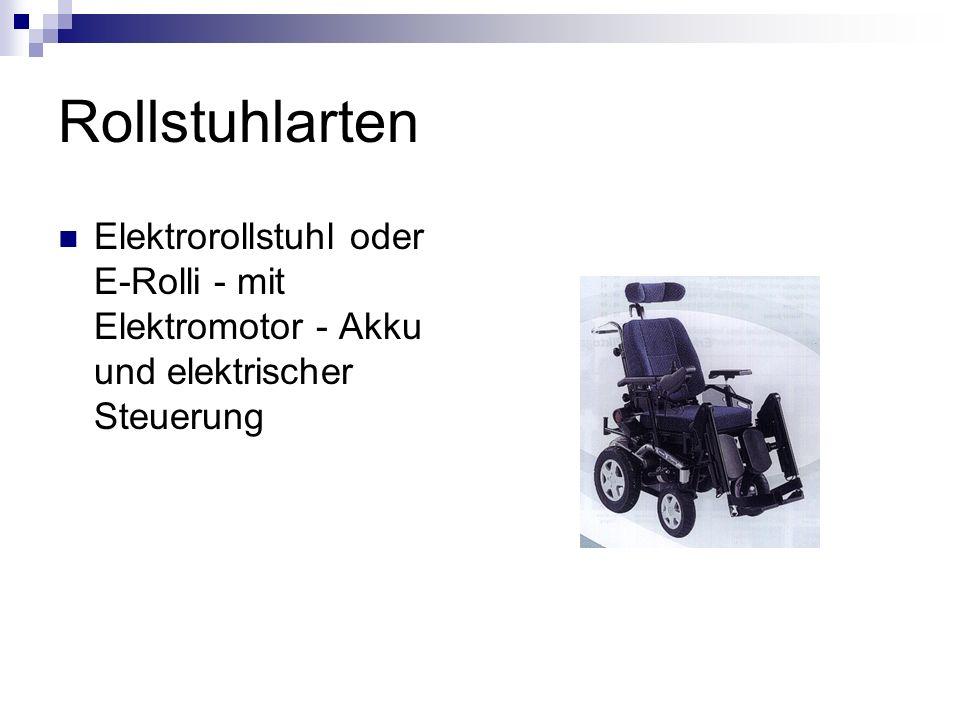 Rollstuhlarten Elektrorollstuhl oder E-Rolli - mit Elektromotor - Akku und elektrischer Steuerung
