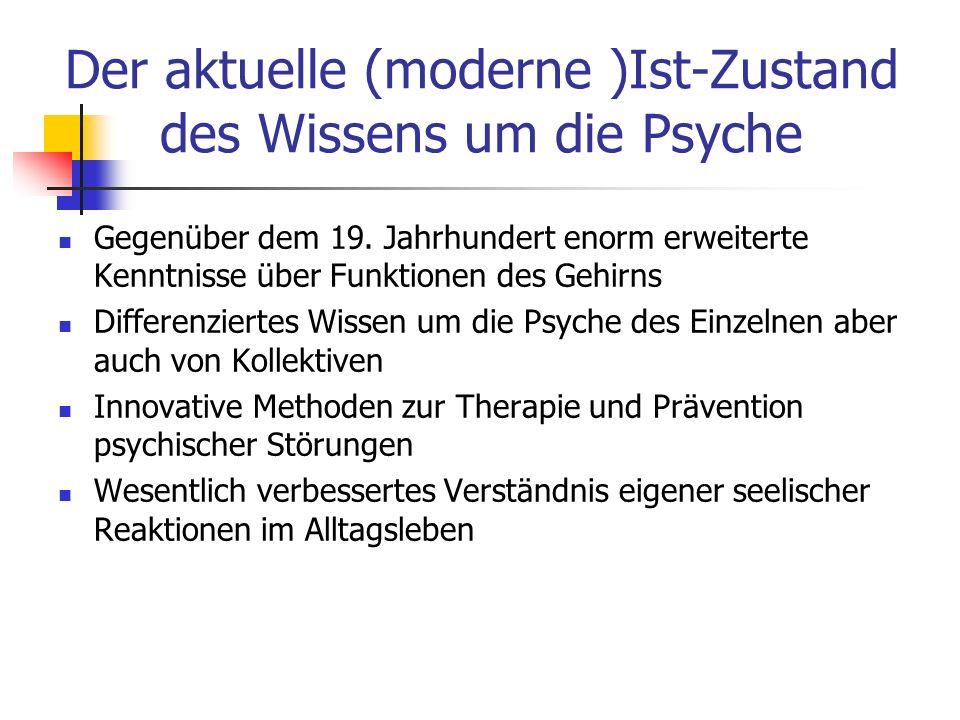 Der aktuelle (moderne )Ist-Zustand des Wissens um die Psyche