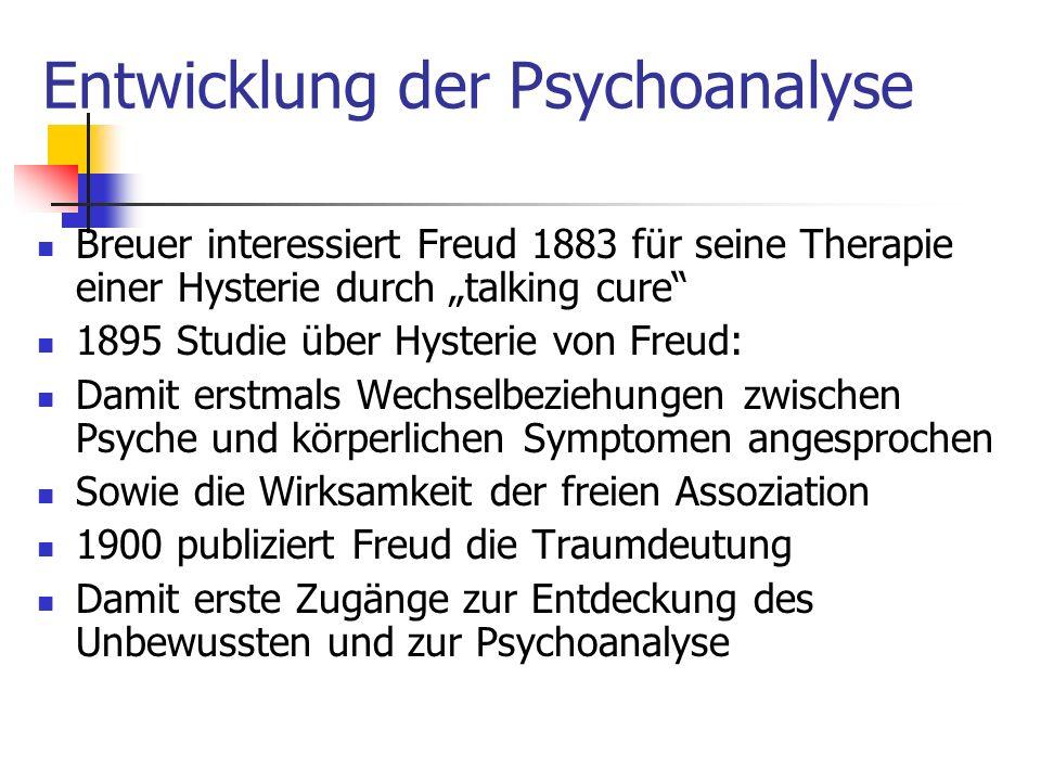 Entwicklung der Psychoanalyse