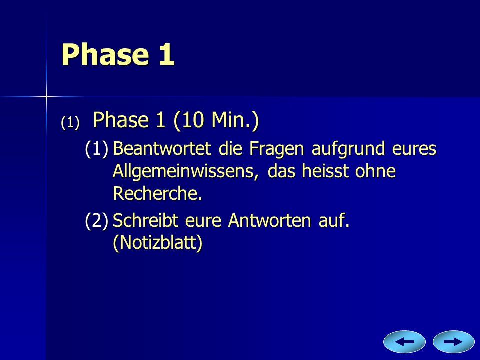 Phase 1 Phase 1 (10 Min.) Beantwortet die Fragen aufgrund eures Allgemeinwissens, das heisst ohne Recherche.