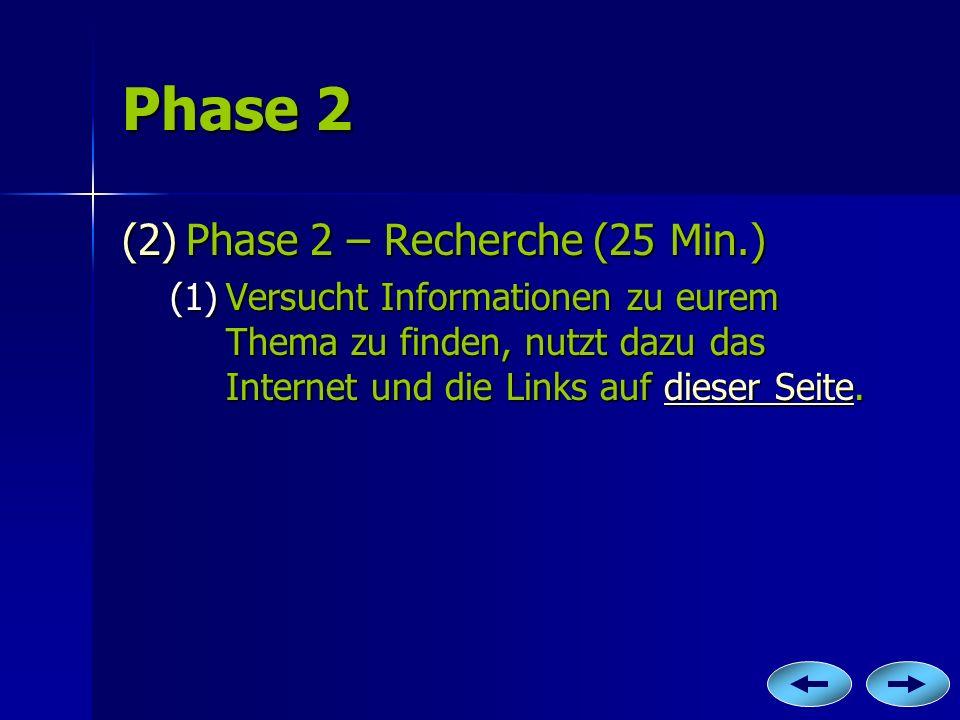 Phase 2 Phase 2 – Recherche (25 Min.)