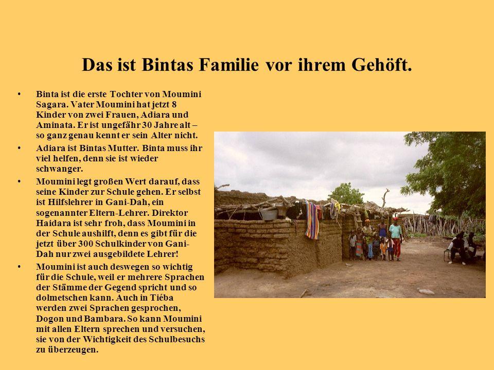 Das ist Bintas Familie vor ihrem Gehöft.
