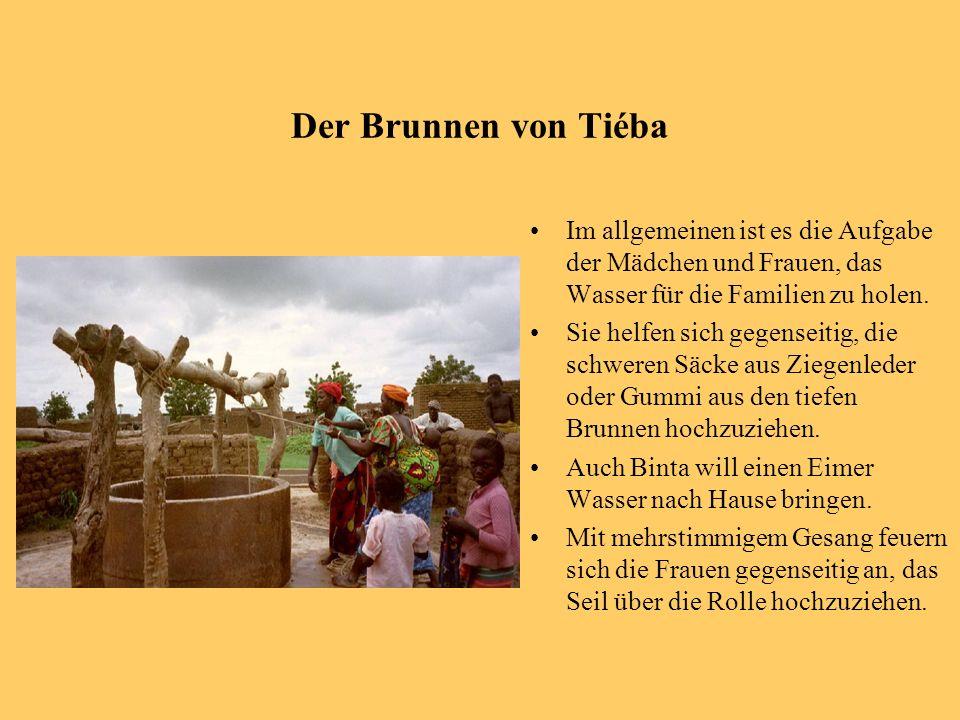 Der Brunnen von Tiéba Im allgemeinen ist es die Aufgabe der Mädchen und Frauen, das Wasser für die Familien zu holen.